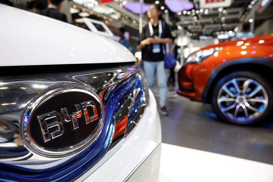 FILE PHOTO -  The logo of BYD is seen on a car presented at the Auto China 2016 auto show in Beijing