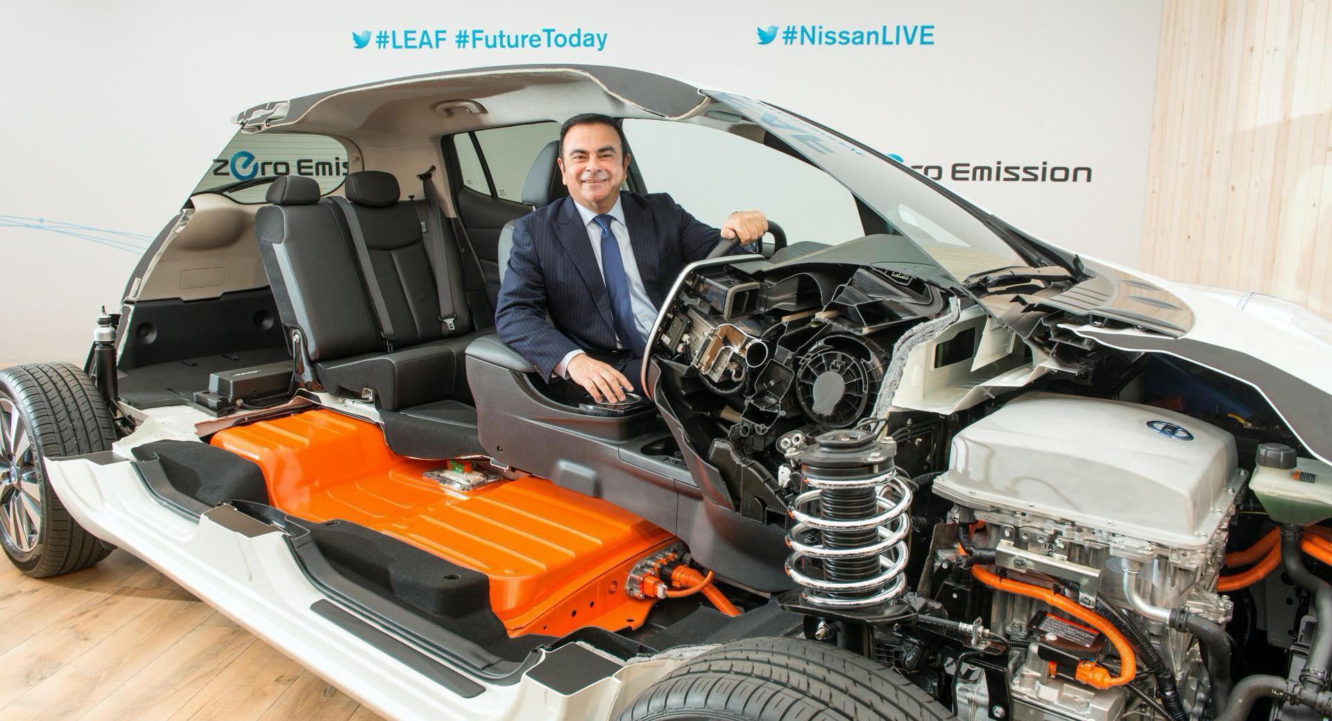 carlos-ghosn-and-nissan-leaf